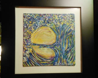 Sun and Tree Framed Ready to Hang Original One of a Kind