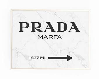 Print, Poster, 'Prada Marfa', Wall Art, Modern, Minimal, Wall Decor, Home Decor, Quote Print, Scandinavian, Typography, Marble