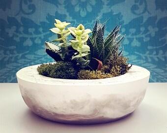 Round Portland Cement Planter, Marbled  Cement Pot, Air plant, Succulent, Home Decor, Wedding Centerpiece, Perfect Gift