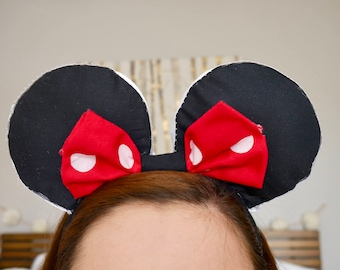 Classic Black with Red and White polkadot bow Minnie Ears |