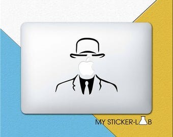 Anonymous MacBook Decal Mysterious Man MacBook Sticker Apple Logo Decal Apple Suit Sticker Apple MacBook Vinyl Decal Apple Face m764