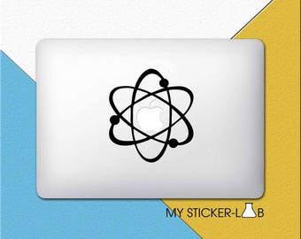 Chemistry Atom MacBook Decal Chemistry Atoms MacBook Sticker Electron Decal Nerd MacBook Decal Geek Electrons Orbiting Atomic Reaction m120