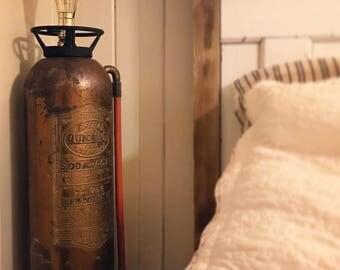 Fire Extinguiser Lamp, Fire Extinguisher Light, Steampunk Lamp, Steampunk Light, Edison Bulb Lamp, Edison Bulb Light, Industrial Lamp