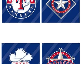 Texas Rangers coasters 4x4  inches square sheet size 8.5x11 - Instant Download