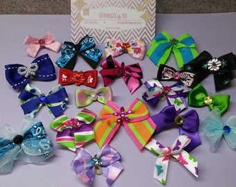 100 Grooming Bows. Beautiful Spring/Summer Assortment. Many styles and colors!