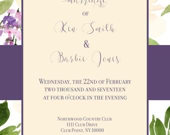 5 X 7 Custom Wedding Invitation
