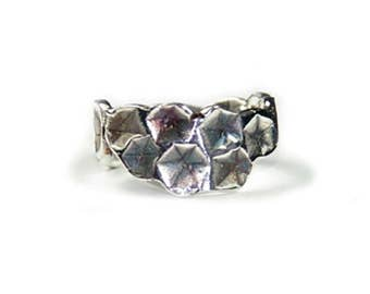 Silver Oxidised Graduated Stamped Ring