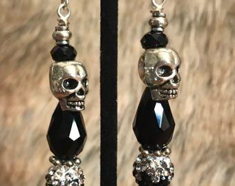 Silver Skull Teardrop Crystal Earrings