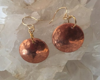 Hammered Copper / Sterling Silver earrings