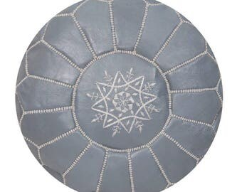 Moroccan Pouf Unstuffed Grey Authentic Handmade Genuine Leather Ottoman Pouffe Footstool