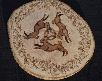 Tinner's Hares pyrography slice