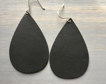 Just Black Leather Earrings