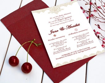 Christian & Hindu / red / maroon and gold fall elegant wedding invitation set