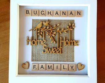 Personalised Home Sweet Home Picture Box Frame