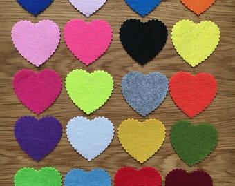 Die cut felt heart shapes , vegan friendly polyester felt shapes, die cut hearts, felt hearts