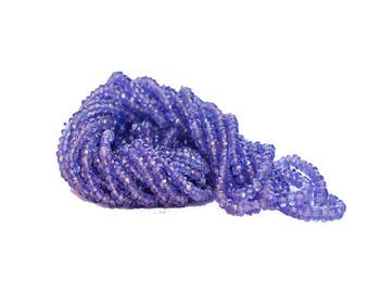 AAA Quality Natural TANZANITE Faceted Beads /3.0-4.0 mm / 16 inch