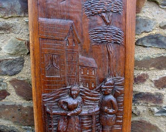 A Nice Vintage French Oak Hand Carved Wooden Panel Of A  Huntsman Chatting To A Girl At A Fence