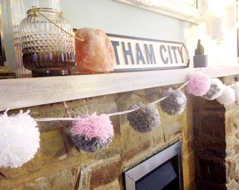 Pink, grey and white Pom Pom garland.