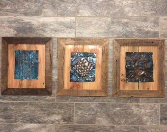 Metal art on reclaimed wood