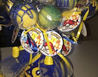 Pokémon Oreo pops in mason jar.