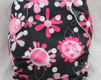 Flower pocket one size cloth diaper- OS diaper- Pocket diaper