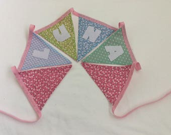 Handmade Personalised Bunting Made to Order in Selection of Pretty Themed Fabrics