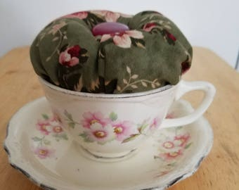Tea Cup Pincushion made with Antique china