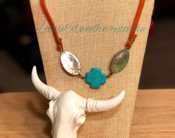 Turquoise Cross w/ Silver Ovals Leather Necklace