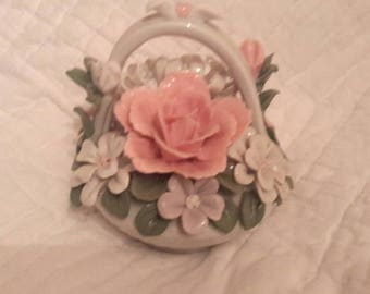Pink and White floral bridal basket china
