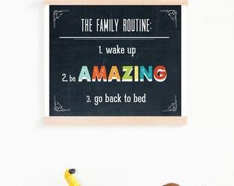 BOGO SALE Kids Room Decor, Kids Playroom Art, Kids Room Art Decor, Kids Room Wall Art , Family Routine Typography Wall Art Print