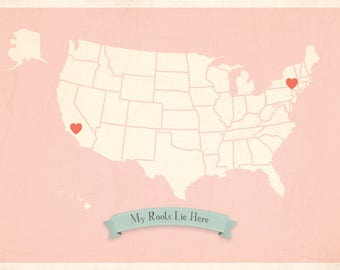 My Roots Personalized Vintage USA Map Wall Art 11x14 in Pink, inspirational kids decor, nursery room decor, kids wall art, Customized Map