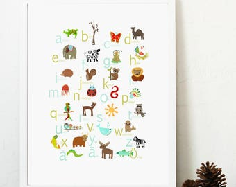 Swedish Alphabet Print 11x14 Nursery Wall Art, Animal Themed, Kid's Art Decor, Gender Neutral Nursery, ABC, Children