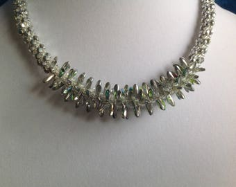 Kumihimo Silver Dagger and Seed Bead Necklace