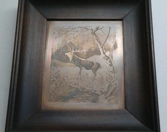 Original Copper engraving by H. Roll, Stag in Forrest/Framed