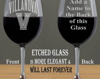 NCAA 2016 Villanova Etched Stemless Wine Glass - VillanoverWildcats Wine Glass - Beer Mug - Wine Glass, Custom Wine Glass
