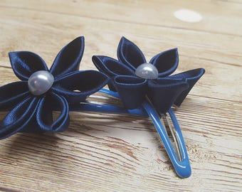 Navy Blue Kanzashi flower hairclips, back to school, wedding, christening, party, girls hair accessories