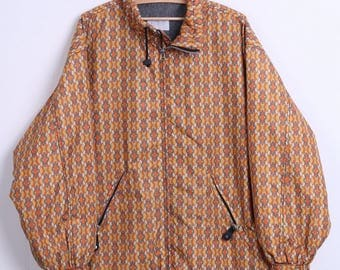 Etirel Mens M Vintage Jacket Orange Fleece Inside Welt Diamond Print