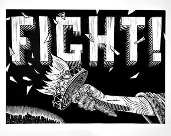 Ready to Fight - handmade relief print, 10% of proceeds donated to the ACLU. Limited edition.