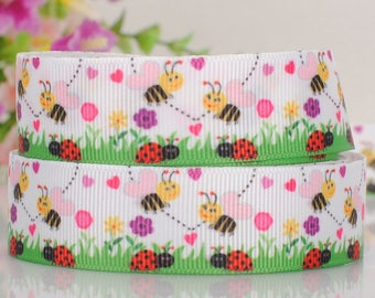 Ribbon, Grosgrain Ribbon, Bumble Bee, Bee, Ladybug Ribbon By The Yard, 7/8 inch wide 22mm