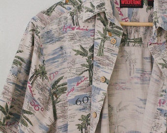 Men's Vintage Hawaiian Print Shirt Size M