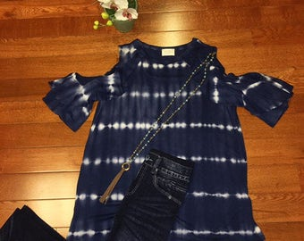 Tie-Dye Knit Cold Shoulder Top
