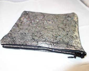 Black with Silver Crackle Finish Bag with Rhinestone Zipper