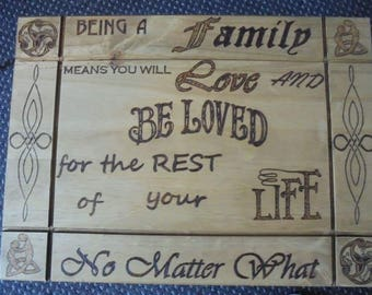 family quote hand pyrography medium side table