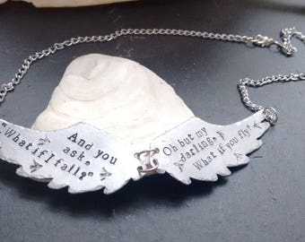 Hand Stamped Wing Necklace