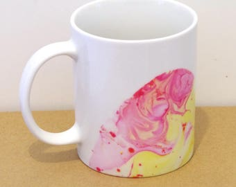 Marbled mug - White ceramic mug - Pink and yellow patterns - decorated mug - unique coffee cup - tea cup - marbling
