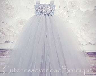 40% OFF ALL ORDERS-Silver Flower Girl Tutu Dress-Silver Gray Tutu Dress-Silver Tutu Dress.Flower Girl Tutu Dress-Wedding Tutu Dress