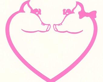 Piggy Love car decal or tumbler cup decal
