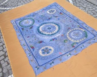 vintage suzani,hand made uzbek suzani,suzani bedspread,suzani wall hanging, 175 cm x 142 cm,5'8 ft x 3'8 ft