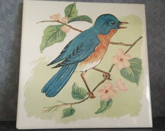 Bluebird Among the Cherry Blossoms - Ceramic Accent Tile - Cork Backed with Wall Hook