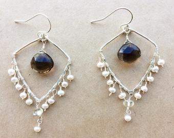 Smokey Quartz Earrings, Pearl Earrings, Bridal Earrings, Chandelier Earrings, Gifts For Her